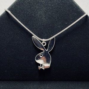 Silver Playboy Bunny Necklace Pendant